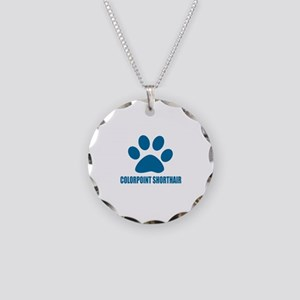 Colorpoint Shorthair Cat Des Necklace Circle Charm
