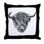 Windswept Scottish Highland Cow Throw Pillow