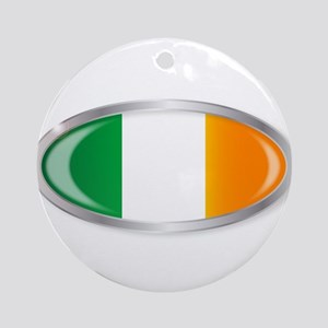 Irish Flag Oval Button Round Ornament
