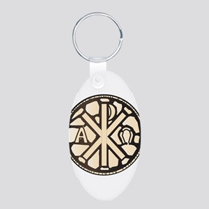Alpha Omega Stain Glass Keychains