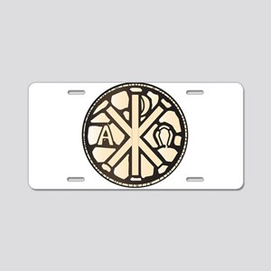 Alpha Omega Stain Glass Aluminum License Plate