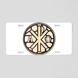 Alpha Omega Stain Glass Aluminum License Plate