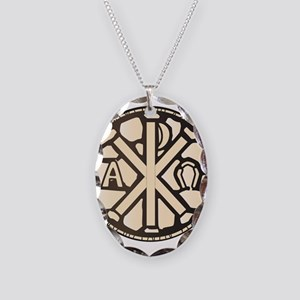 Alpha Omega Stain Glass Necklace Oval Charm