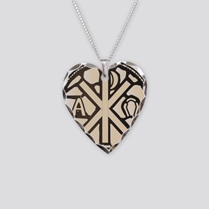 Alpha Omega Stain Glass Necklace Heart Charm