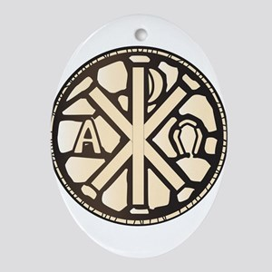 Alpha Omega Stain Glass Oval Ornament