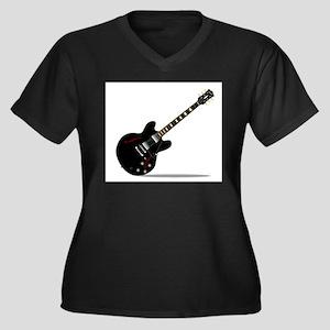Black Semi Solid Guitar Plus Size T-Shirt