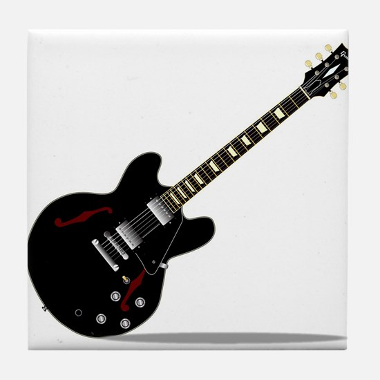Black Semi Solid Guitar Tile Coaster