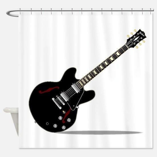 Black Semi Solid Guitar Shower Curtain