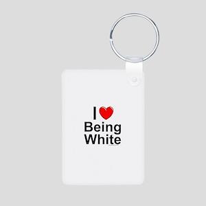 Being White Aluminum Photo Keychain