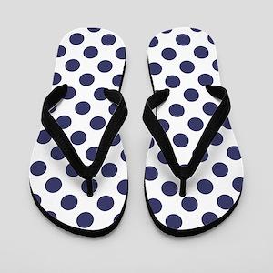 Blue Polka Dot Pattern Flip Flops