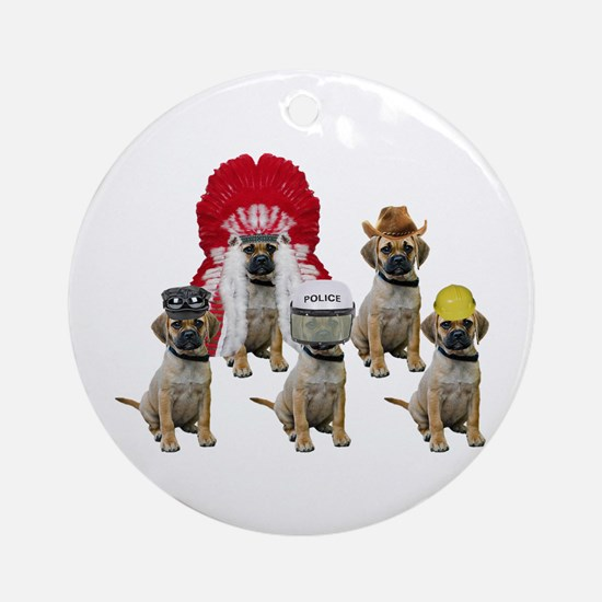 Village Puggles Round Ornament
