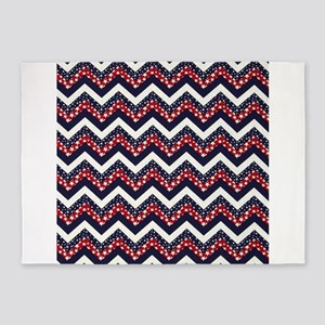 red white blue starts 5'x7'Area Rug