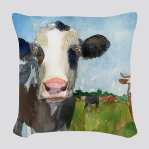 Cow Art | Watercolor | Farm Animals Woven Throw Pi