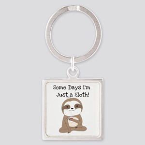 Cute Just a Sloth Square Keychain