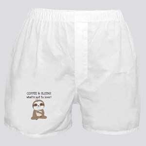 Coffee and Sloths Boxer Shorts
