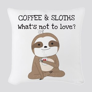 Coffee and Sloths Woven Throw Pillow