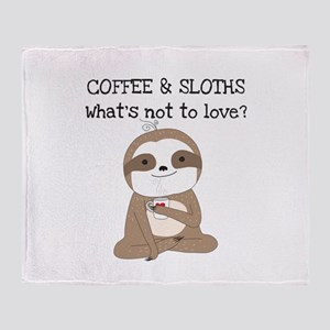 Coffee and Sloths Throw Blanket