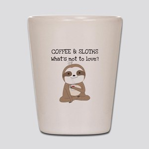 Coffee and Sloths Shot Glass