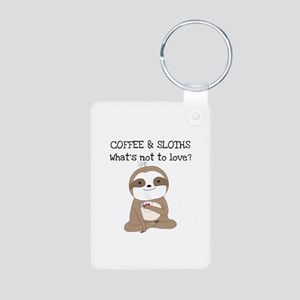 Coffee and Sloths Aluminum Photo Keychain