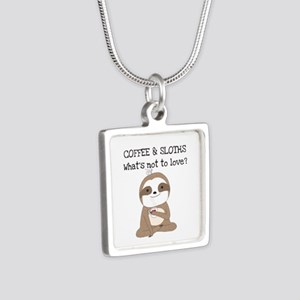 Coffee and Sloths Silver Square Necklace