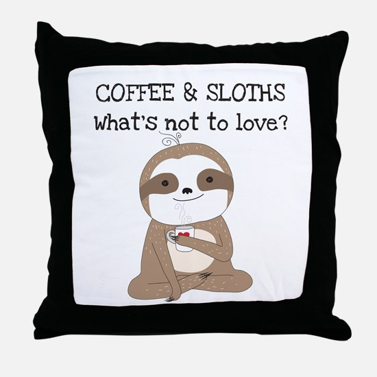 Coffee and Sloths Throw Pillow