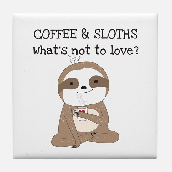 Coffee and Sloths Tile Coaster