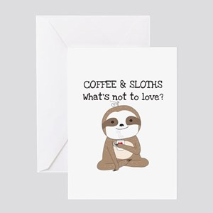 Coffee and Sloths Greeting Card