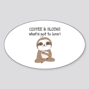 Coffee and Sloths Sticker (Oval)