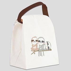 Cute Animals Three Sloths Canvas Lunch Bag
