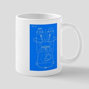 Diesel Engine Blueprint Mugs