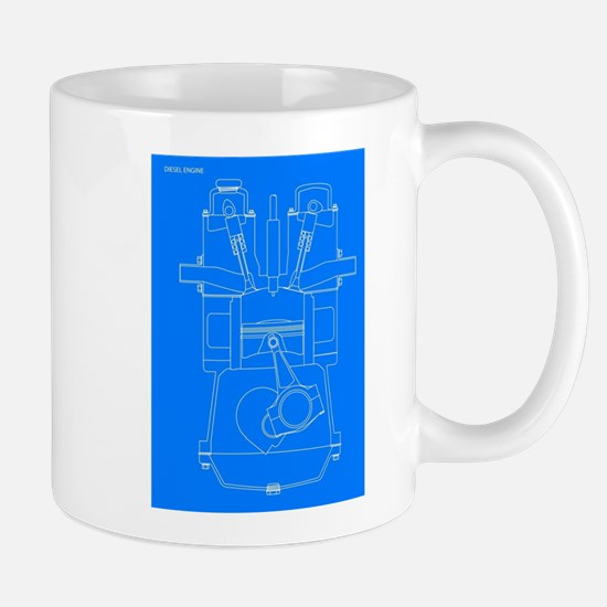 Diesel Engine Blueprint Mugs
