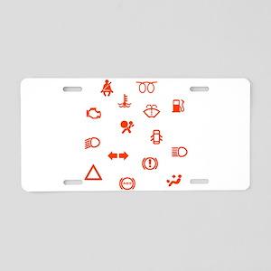 Vehicle Dash Warning Symbol Aluminum License Plate