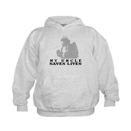 Firefighter Uncle Saves Lives Kids Hoodie