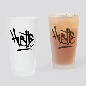 Hustle Typography Drinking Glass