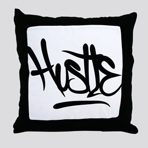 Hustle Typography Throw Pillow