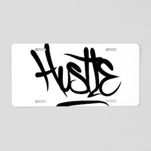 Hustle Typography Aluminum License Plate