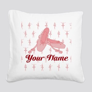 Personalized Pink Ballet Slippers Ballerina Square