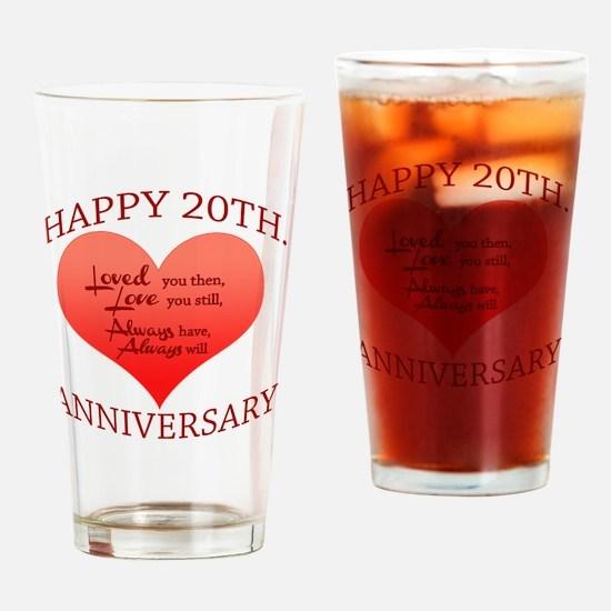 Cute 20th wedding anniversary Drinking Glass