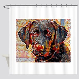 Black Lab: A Portrait In Oil Shower Curtain
