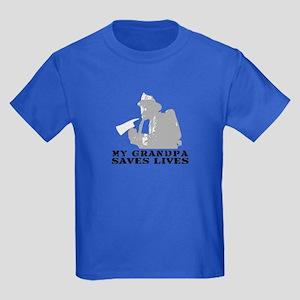 Firefighter Grndpa Saves Lives  Kids Dark T-Shirt