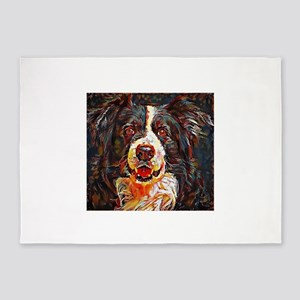 Border Collie: A Portrait in Oil 5'x7'Area Rug