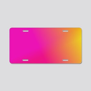 Pink Orange Yellow Ombre Aluminum License Plate