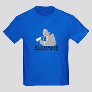 Firefighter Fiancee Saves Lives  Kids Dark T-Shirt