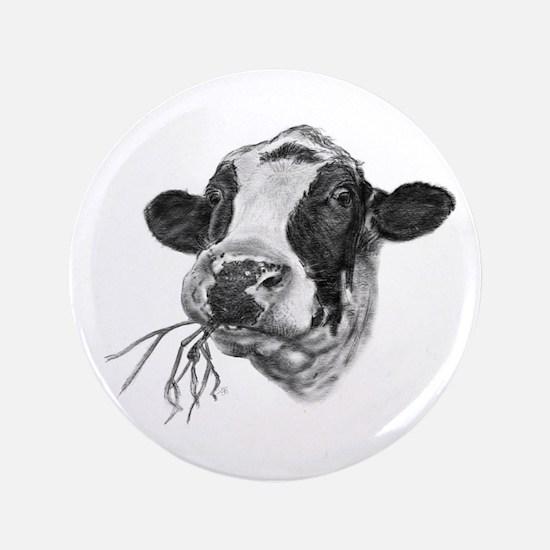 "Happy Holstein Friesian Dairy Cow 3.5"" Button (100"