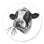 Happy Holstein Friesian Dairy Cow Round Car Magnet