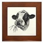 Happy Holstein Friesian Dairy Cow Framed Tile