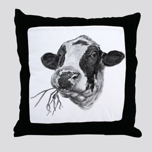 Happy Holstein Friesian Dairy Cow Throw Pillow