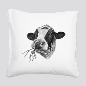 Happy Holstein Friesian Dairy Cow Square Canvas Pi