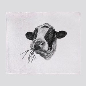 Happy Holstein Friesian Dairy Cow Throw Blanket