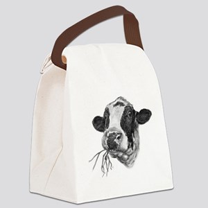 Happy Holstein Friesian Dairy Cow Canvas Lunch Bag